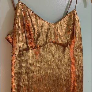 Dkny Dresses - DKNY gold sequin dress. With a slit size 2